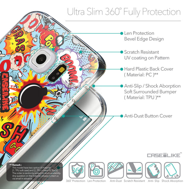 Details in English - CASEiLIKE Samsung Galaxy S6 Edge back cover Comic Captions Blue 2913