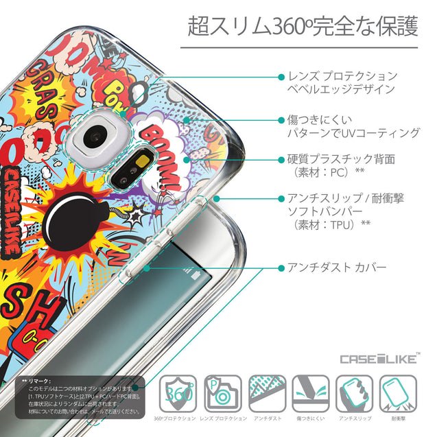 Details in Japanese - CASEiLIKE Samsung Galaxy S6 Edge back cover Comic Captions Blue 2913