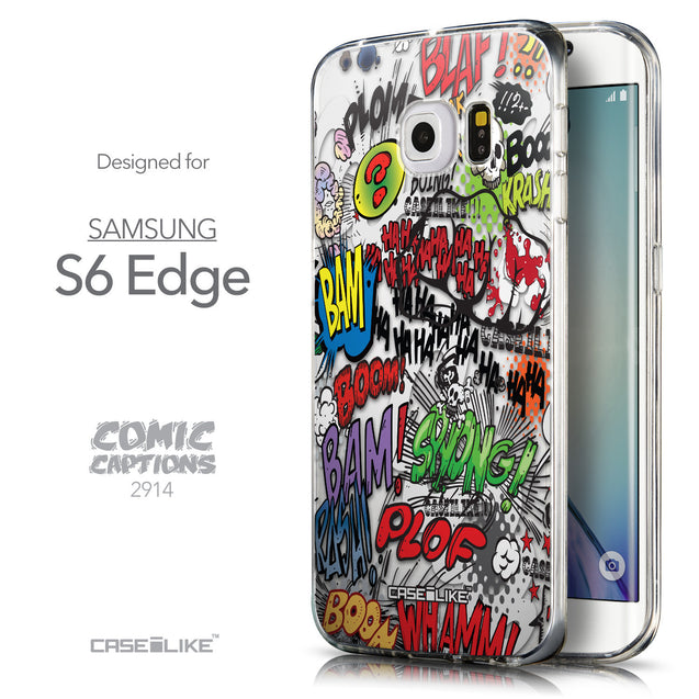 Front & Side View - CASEiLIKE Samsung Galaxy S6 Edge back cover Comic Captions 2914