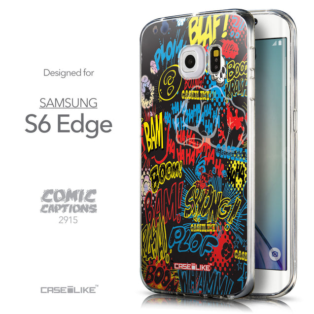 Front & Side View - CASEiLIKE Samsung Galaxy S6 Edge back cover Comic Captions Black 2915