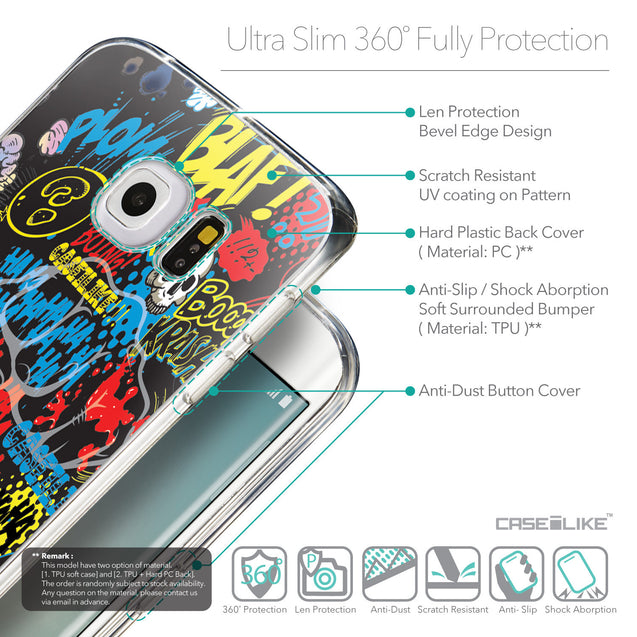 Details in English - CASEiLIKE Samsung Galaxy S6 Edge back cover Comic Captions Black 2915