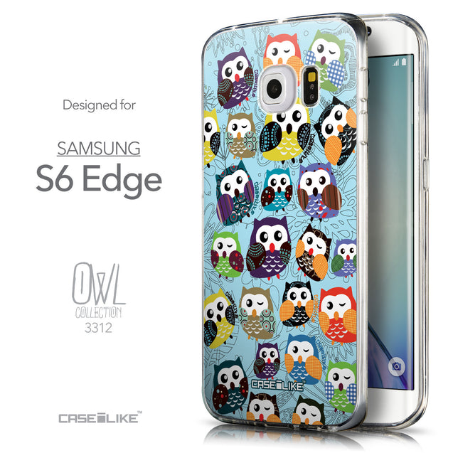 Front & Side View - CASEiLIKE Samsung Galaxy S6 Edge back cover Owl Graphic Design 3312