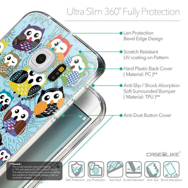 Details in English - CASEiLIKE Samsung Galaxy S6 Edge back cover Owl Graphic Design 3312