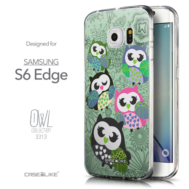 Front & Side View - CASEiLIKE Samsung Galaxy S6 Edge back cover Owl Graphic Design 3313