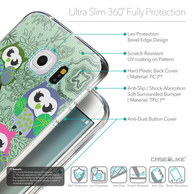 Details in English - CASEiLIKE Samsung Galaxy S6 Edge back cover Owl Graphic Design 3313