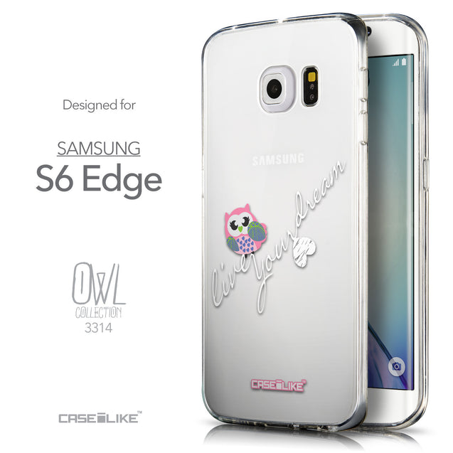 Front & Side View - CASEiLIKE Samsung Galaxy S6 Edge back cover Owl Graphic Design 3314