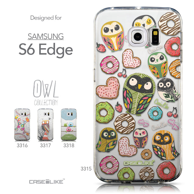 Collection - CASEiLIKE Samsung Galaxy S6 Edge back cover Owl Graphic Design 3315
