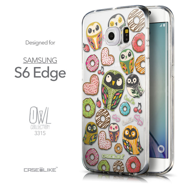 Front & Side View - CASEiLIKE Samsung Galaxy S6 Edge back cover Owl Graphic Design 3315