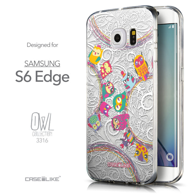 Front & Side View - CASEiLIKE Samsung Galaxy S6 Edge back cover Owl Graphic Design 3316