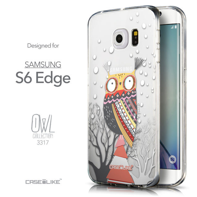 Front & Side View - CASEiLIKE Samsung Galaxy S6 Edge back cover Owl Graphic Design 3317