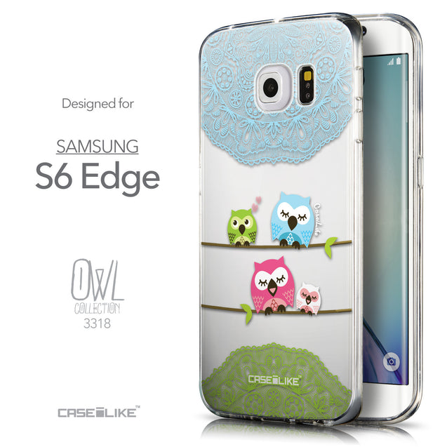 Front & Side View - CASEiLIKE Samsung Galaxy S6 Edge back cover Owl Graphic Design 3318