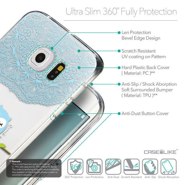 Details in English - CASEiLIKE Samsung Galaxy S6 Edge back cover Owl Graphic Design 3318