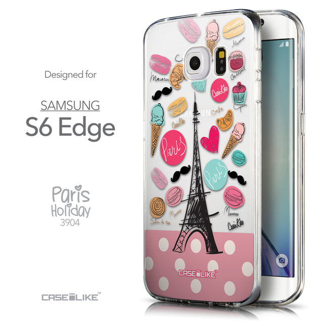 Front & Side View - CASEiLIKE Samsung Galaxy S6 Edge back cover Paris Holiday 3904