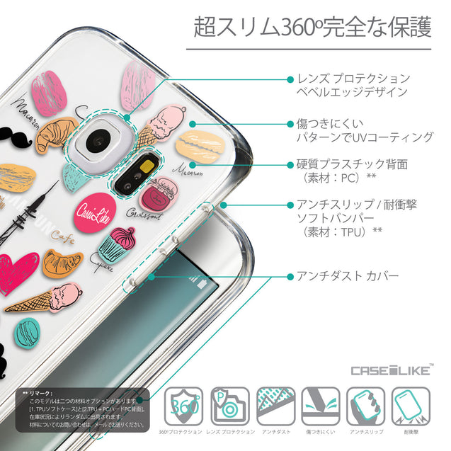 Details in Japanese - CASEiLIKE Samsung Galaxy S6 Edge back cover Paris Holiday 3904