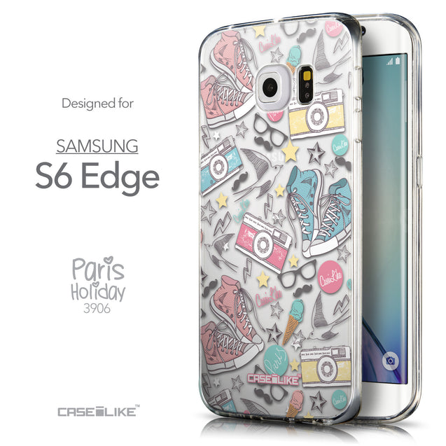 Front & Side View - CASEiLIKE Samsung Galaxy S6 Edge back cover Paris Holiday 3906