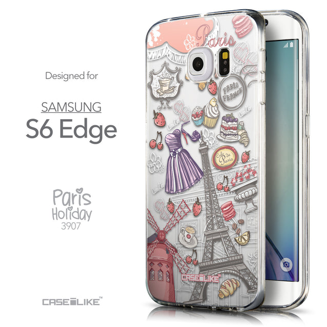 Front & Side View - CASEiLIKE Samsung Galaxy S6 Edge back cover Paris Holiday 3907