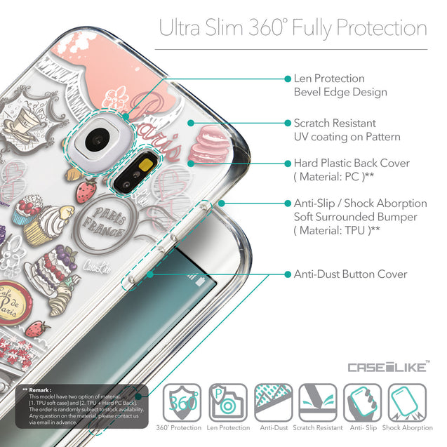 Details in English - CASEiLIKE Samsung Galaxy S6 Edge back cover Paris Holiday 3907