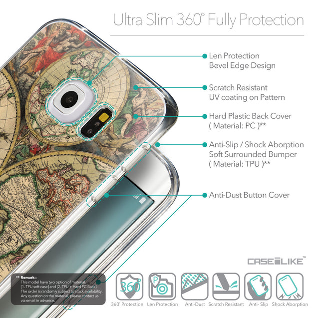 Details in English - CASEiLIKE Samsung Galaxy S6 Edge back cover World Map Vintage 4607