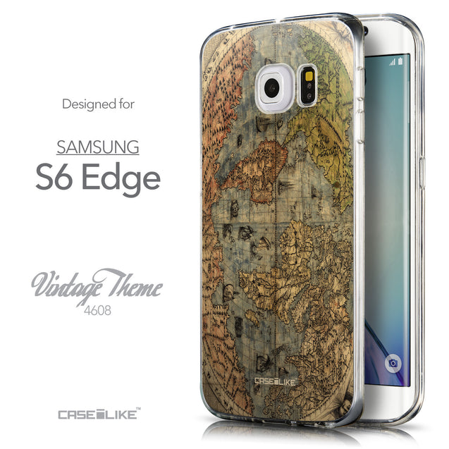 Front & Side View - CASEiLIKE Samsung Galaxy S6 Edge back cover World Map Vintage 4608