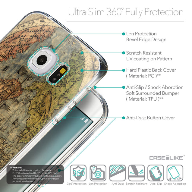 Details in English - CASEiLIKE Samsung Galaxy S6 Edge back cover World Map Vintage 4608