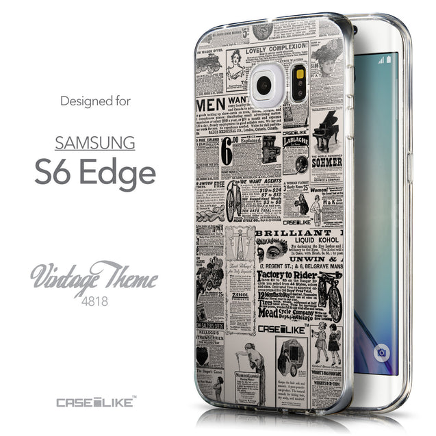Front & Side View - CASEiLIKE Samsung Galaxy S6 Edge back cover Vintage Newspaper Advertising 4818