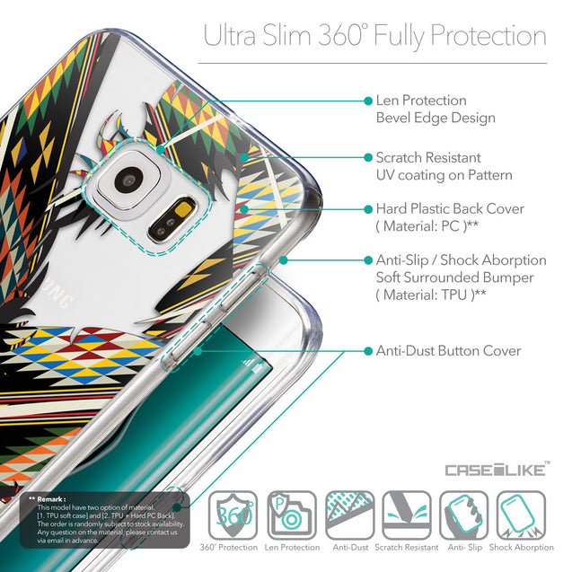 Details in English - CASEiLIKE Samsung Galaxy S6 Edge Plus back cover Indian Tribal Theme Pattern 2053