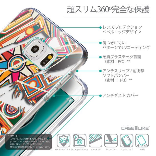 Details in Japanese - CASEiLIKE Samsung Galaxy S6 Edge Plus back cover Indian Tribal Theme Pattern 2054