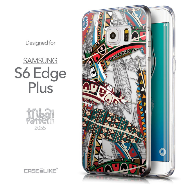 Front & Side View - CASEiLIKE Samsung Galaxy S6 Edge Plus back cover Indian Tribal Theme Pattern 2055