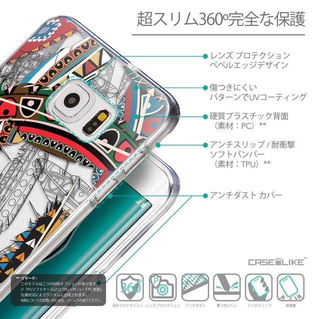 Details in Japanese - CASEiLIKE Samsung Galaxy S6 Edge Plus back cover Indian Tribal Theme Pattern 2055