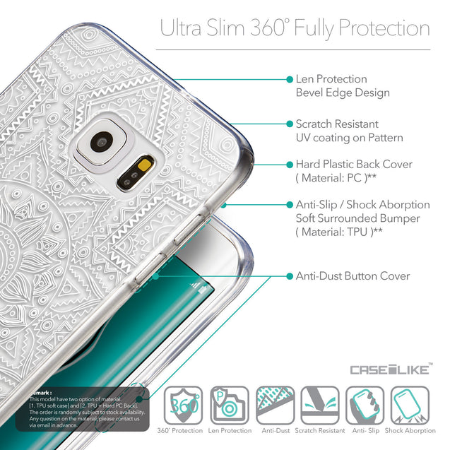 Details in English - CASEiLIKE Samsung Galaxy S6 Edge Plus back cover Indian Line Art 2061