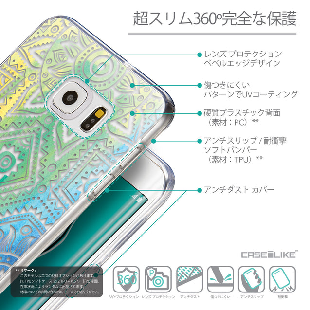 Details in Japanese - CASEiLIKE Samsung Galaxy S6 Edge Plus back cover Indian Line Art 2064