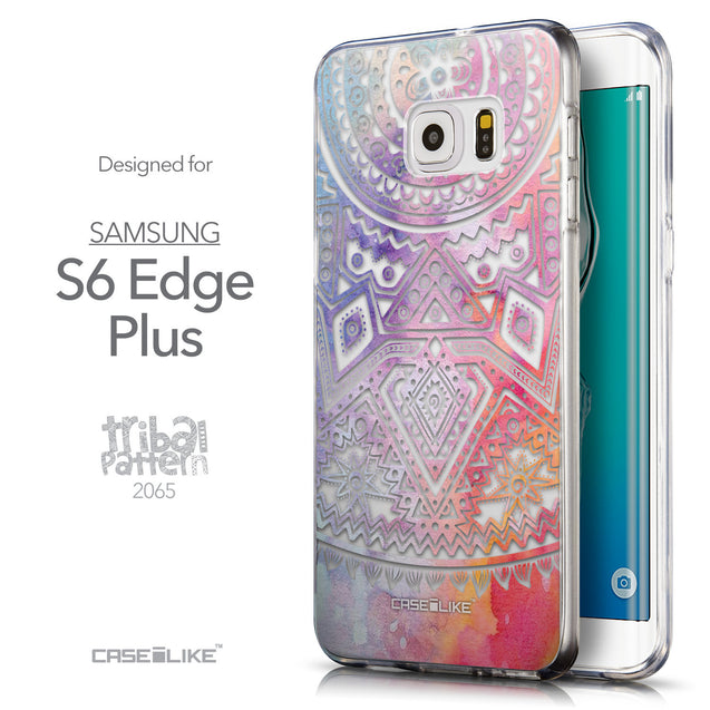 Front & Side View - CASEiLIKE Samsung Galaxy S6 Edge Plus back cover Indian Line Art 2065