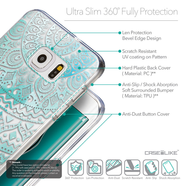 Details in English - CASEiLIKE Samsung Galaxy S6 Edge Plus back cover Indian Line Art 2066
