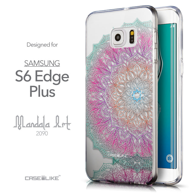 Front & Side View - CASEiLIKE Samsung Galaxy S6 Edge Plus back cover Mandala Art 2090
