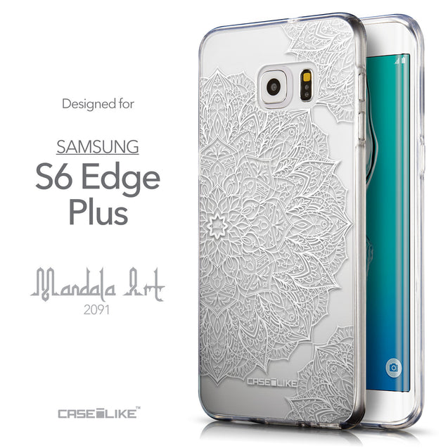 Front & Side View - CASEiLIKE Samsung Galaxy S6 Edge Plus back cover Mandala Art 2091