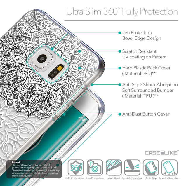 Details in English - CASEiLIKE Samsung Galaxy S6 Edge Plus back cover Mandala Art 2093