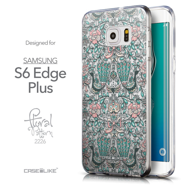 Front & Side View - CASEiLIKE Samsung Galaxy S6 Edge Plus back cover Roses Ornamental Skulls Peacocks 2226