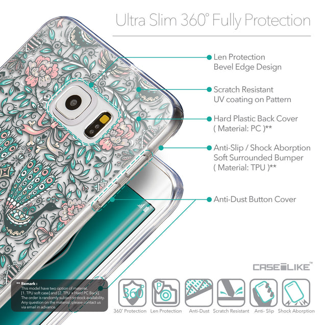 Details in English - CASEiLIKE Samsung Galaxy S6 Edge Plus back cover Roses Ornamental Skulls Peacocks 2226