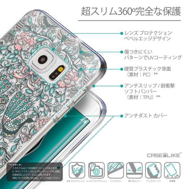 Details in Japanese - CASEiLIKE Samsung Galaxy S6 Edge Plus back cover Roses Ornamental Skulls Peacocks 2226