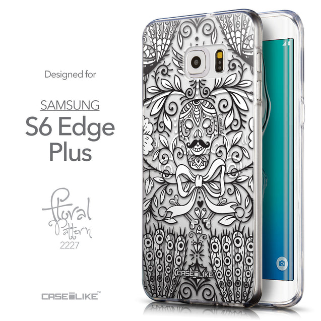Front & Side View - CASEiLIKE Samsung Galaxy S6 Edge Plus back cover Roses Ornamental Skulls Peacocks 2227