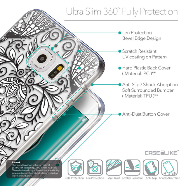 Details in English - CASEiLIKE Samsung Galaxy S6 Edge Plus back cover Roses Ornamental Skulls Peacocks 2227