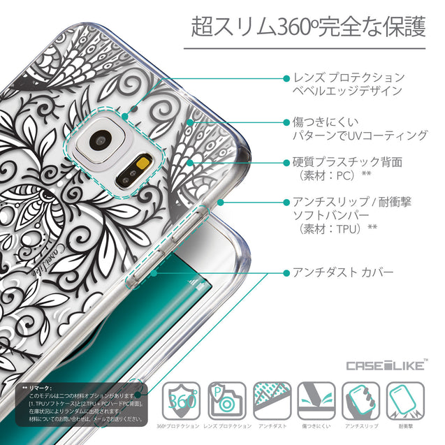 Details in Japanese - CASEiLIKE Samsung Galaxy S6 Edge Plus back cover Roses Ornamental Skulls Peacocks 2227