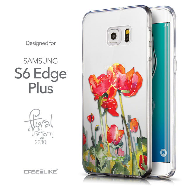 Front & Side View - CASEiLIKE Samsung Galaxy S6 Edge Plus back cover Watercolor Floral 2230