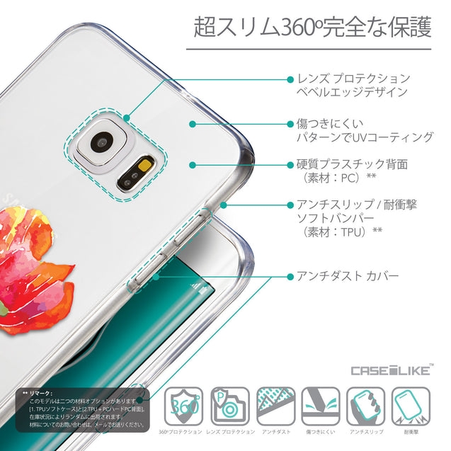 Details in Japanese - CASEiLIKE Samsung Galaxy S6 Edge Plus back cover Watercolor Floral 2230
