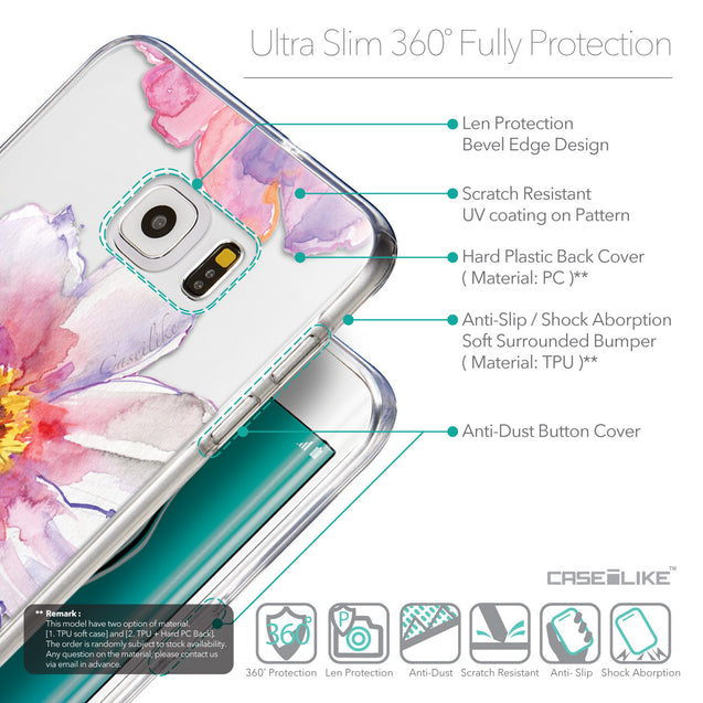 Details in English - CASEiLIKE Samsung Galaxy S6 Edge Plus back cover Watercolor Floral 2231