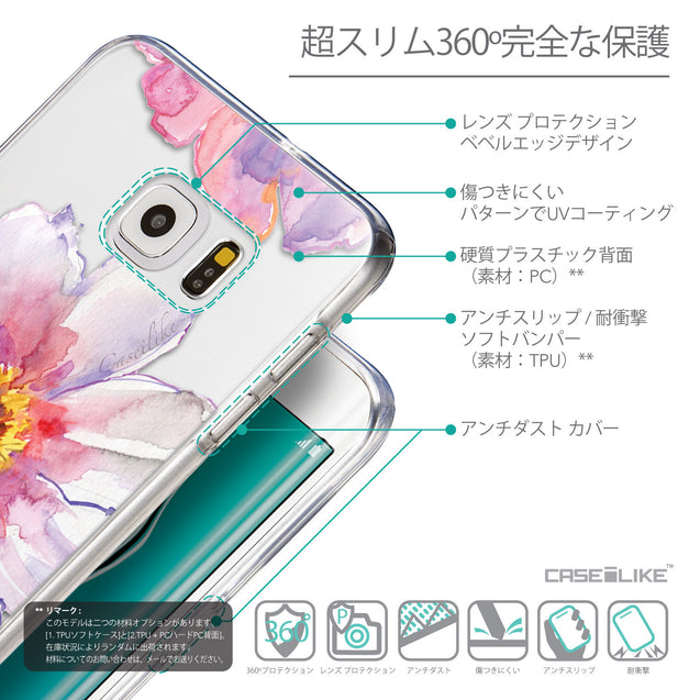 Details in Japanese - CASEiLIKE Samsung Galaxy S6 Edge Plus back cover Watercolor Floral 2231