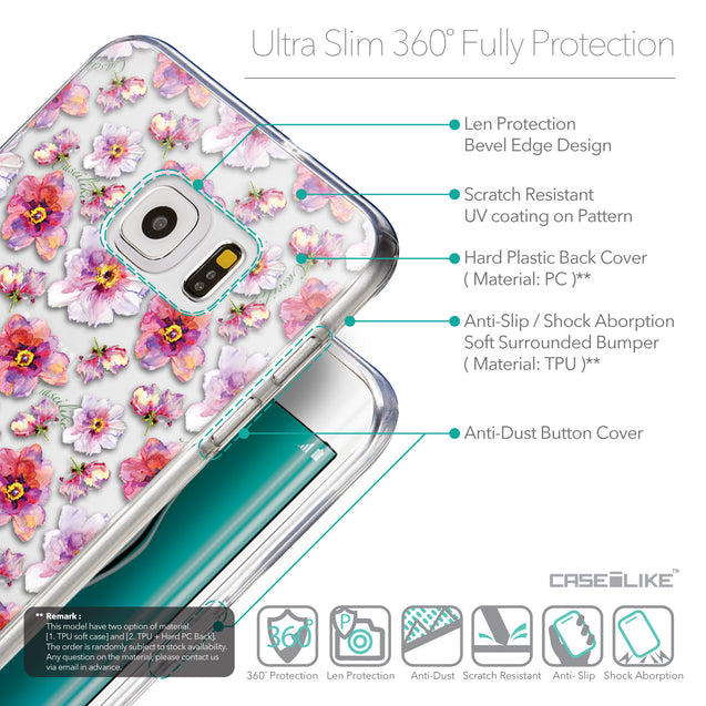 Details in English - CASEiLIKE Samsung Galaxy S6 Edge Plus back cover Watercolor Floral 2232