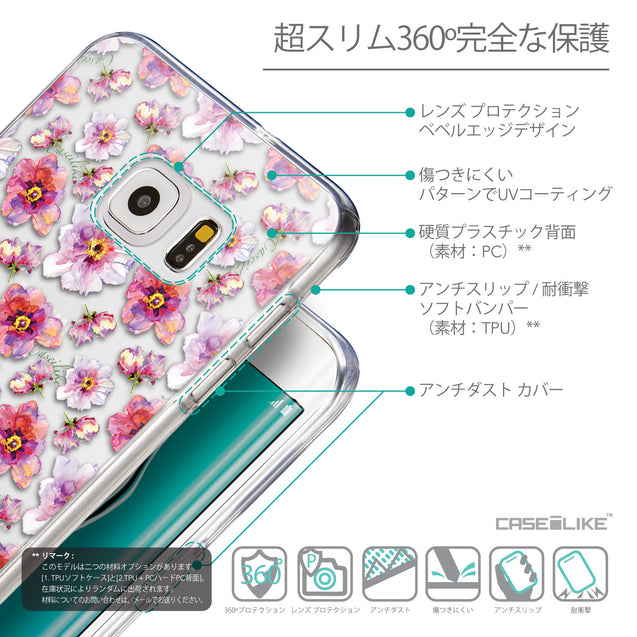 Details in Japanese - CASEiLIKE Samsung Galaxy S6 Edge Plus back cover Watercolor Floral 2232