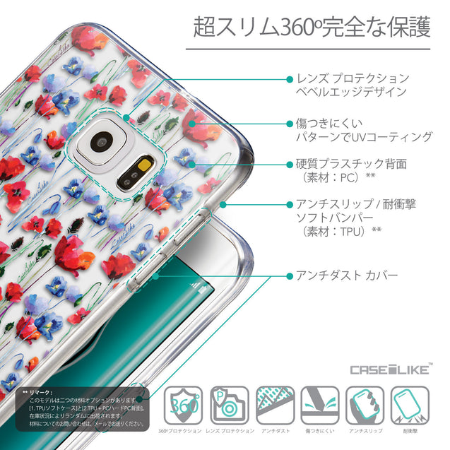Details in Japanese - CASEiLIKE Samsung Galaxy S6 Edge Plus back cover Watercolor Floral 2233