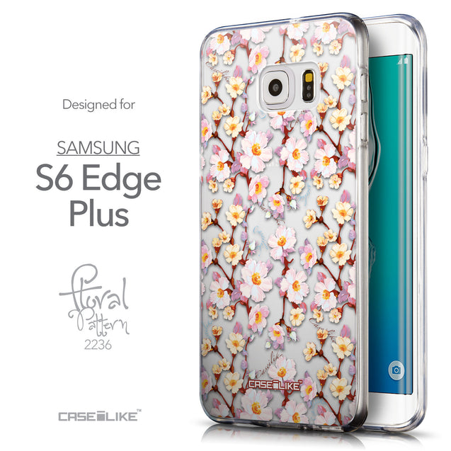 Front & Side View - CASEiLIKE Samsung Galaxy S6 Edge Plus back cover Watercolor Floral 2236
